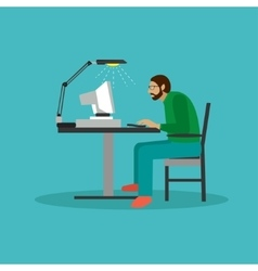 Programmer sit on a chair and working with vector