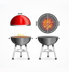 realistic detailed 3d bbq or barbecue grill set vector image