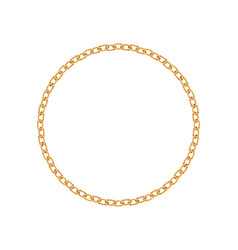 realistic gold circle frame chain texture golden vector image