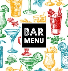 Restaurant and bar menu Hand drawn sketch vector image