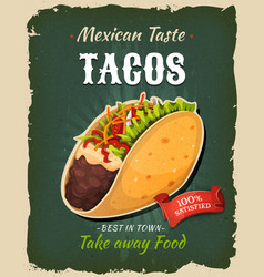 Retro fast food mexican tacos poster vector
