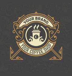 retro vintage coffee shop logo and label with vector image