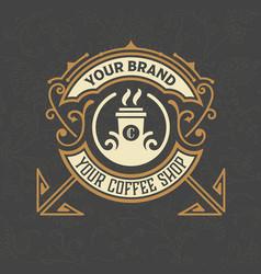 Retro vintage coffee shop logo and label with vector