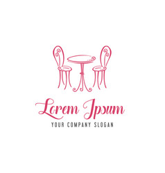 romantic chair table logo romantic cafe logo vector image