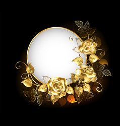 round banner with gold roses vector image