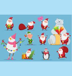 santa claus set christmas characters cute vector image
