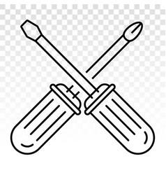 Screwdriver repair tools line art icon vector