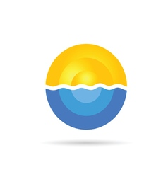 sea and sun color on a white vector image
