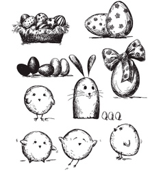 selection easter drawings vector image
