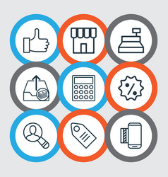 Set of 9 ecommerce icons includes shop spectator vector