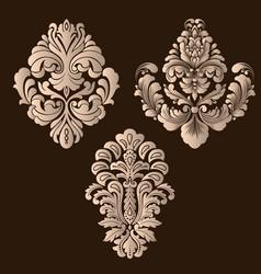 Set of damask ornamental elements elegant vector