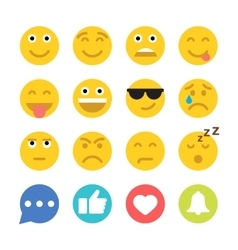 Set of Emoticons and Social Network Icons Flat vector