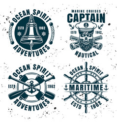 set of four nautical vintage emblems vector image