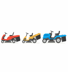 set of tractor lawnmower vector image