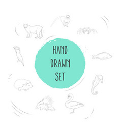 set of zoology icons line style symbols with vector image