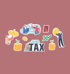 set stickers green co2 tax theme characters vector image