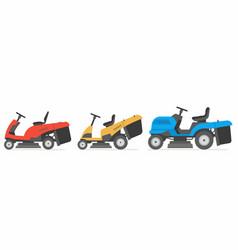 Set tractor lawnmower vector