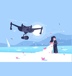 shooting drone over wedding flat poster vector image