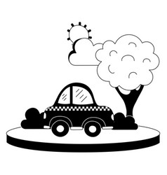 Silhouette taxi car service in the city with tree vector
