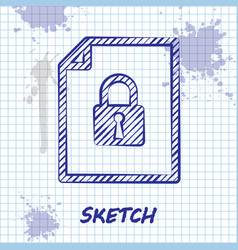 Sketch line document and lock icon isolated on vector