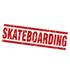 square grunge red skateboarding stamp vector image