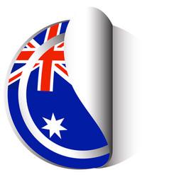 Sticker template for australia flag vector