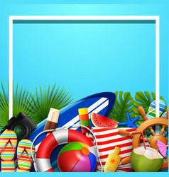 summer holidays blank background in the blue beach vector image
