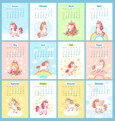 Sweet cute magic unicorn 2019 calendar for kids vector
