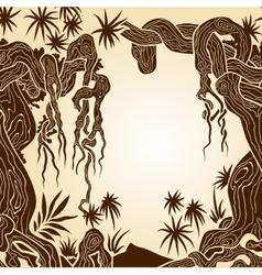 tree with lianas monochrome vector image