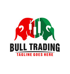two bull heads logo trading business vector image