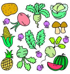 Vegetable set of doodles vector
