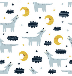 wolf howling at moon seamless pattern cute vector image