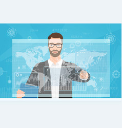 bearded man trader touching the computer screen vector image
