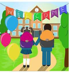 kids go to school vector image