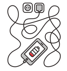 phone charging with long wire smarthone and line vector image