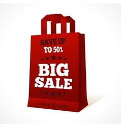 Red paper shopping bag emblem vector image