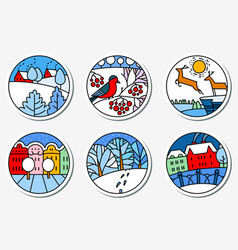 winter urban and nature landscapes icons set in vector image vector image