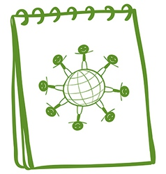 A green notebook with a drawing of kids standing vector image