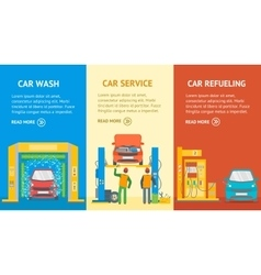 Car Service Automobile Banner Flat Design Style vector image vector image