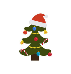 christmas tree ornated with toys vector image vector image