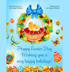 easter spring holiday egg hunt celebration poster vector image vector image