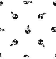 green world qlobe with leaf pattern seamless black vector image
