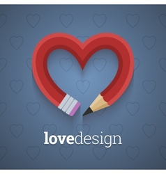 Pencil in the shape of heart vector image vector image