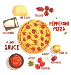 Preparing Pizza Pepperoni Set Of Ingredients vector image vector image