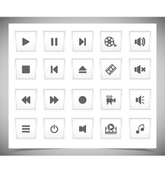 White media buttons vector image