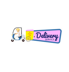 Asian fast food delivery sticker vector