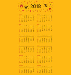 calendar 2018 cross stitch dog starts on sunday vector image vector image
