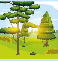colorful background of mountain with trees and vector image vector image