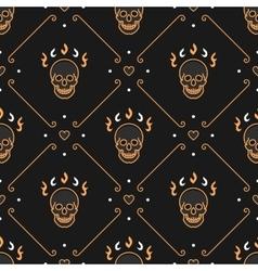 gold skull seamless pattern Art Deco Dark vector image vector image