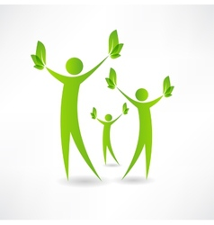 Group of people holding green leaves in the hands vector image vector image